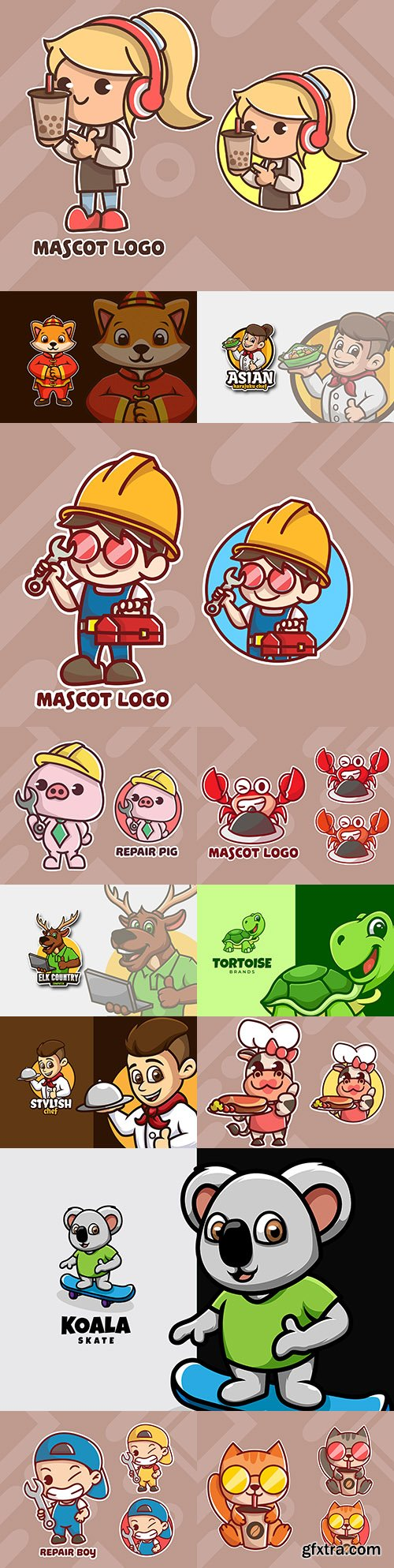Emblem mascot and Brand name logos design 20