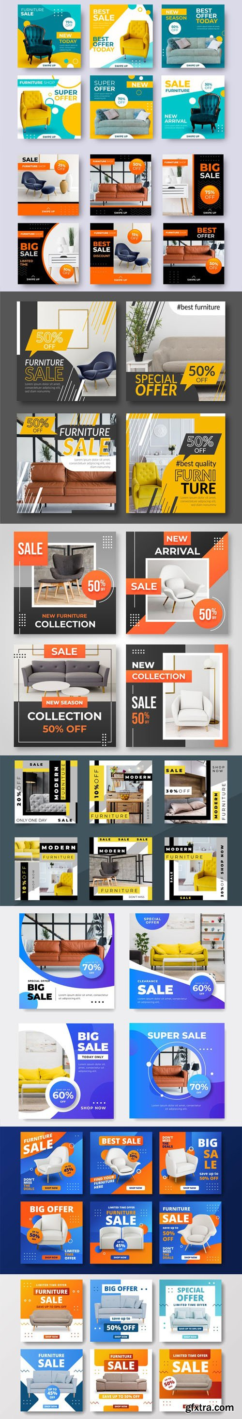 Furniture Sale Instagram Posts Vector Collection