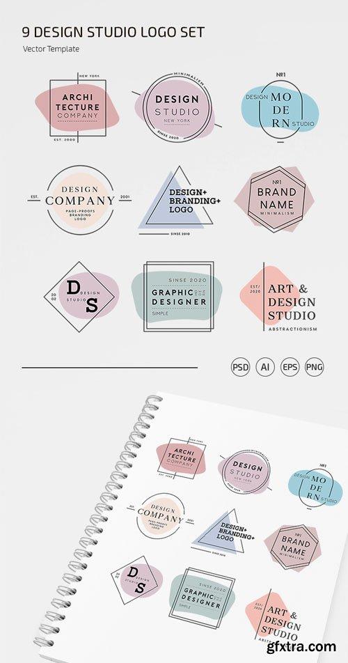 9 Design Studio Logo Set Vector Templates + PSD