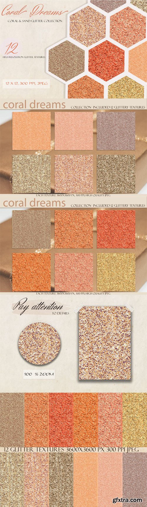 Coral Dreams - Coral & Sand Glitter Textures Collection