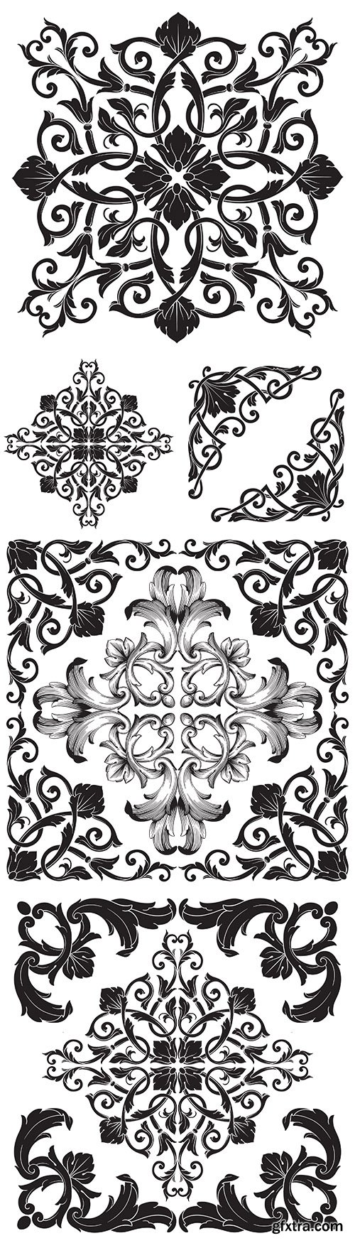 Damask decorative floral vintage pattern design illustrations