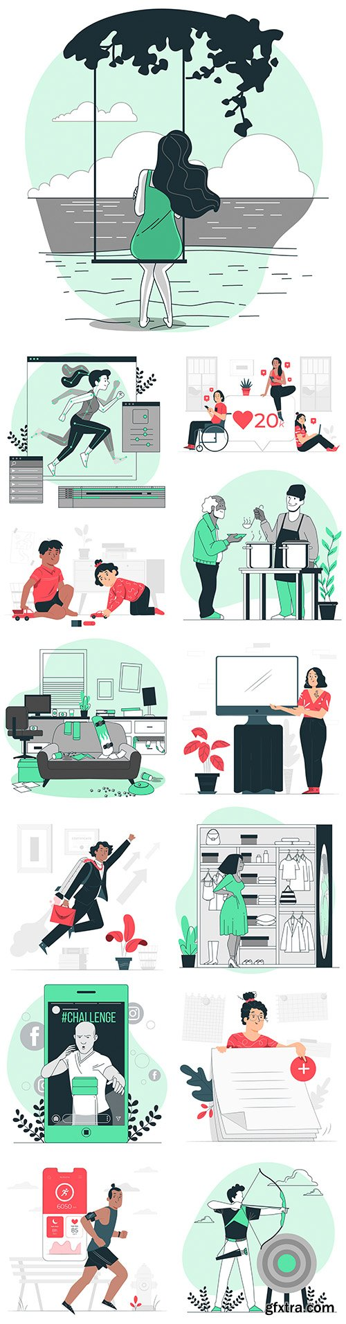 People lifestyle and different situations flat design illustration 5