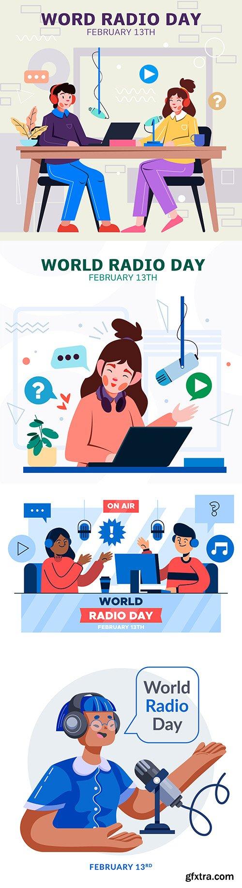 World radio day illustration in flat design