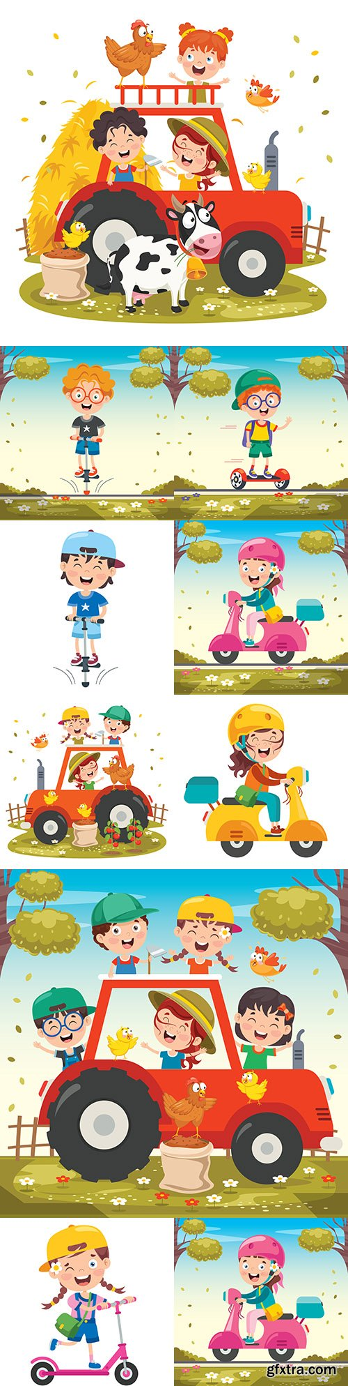 Happy children on scooter in helmet ride and play