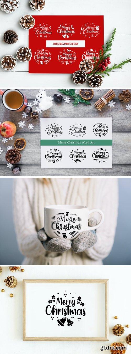 Christmas Prints Design Bundle, Christmas Word Art