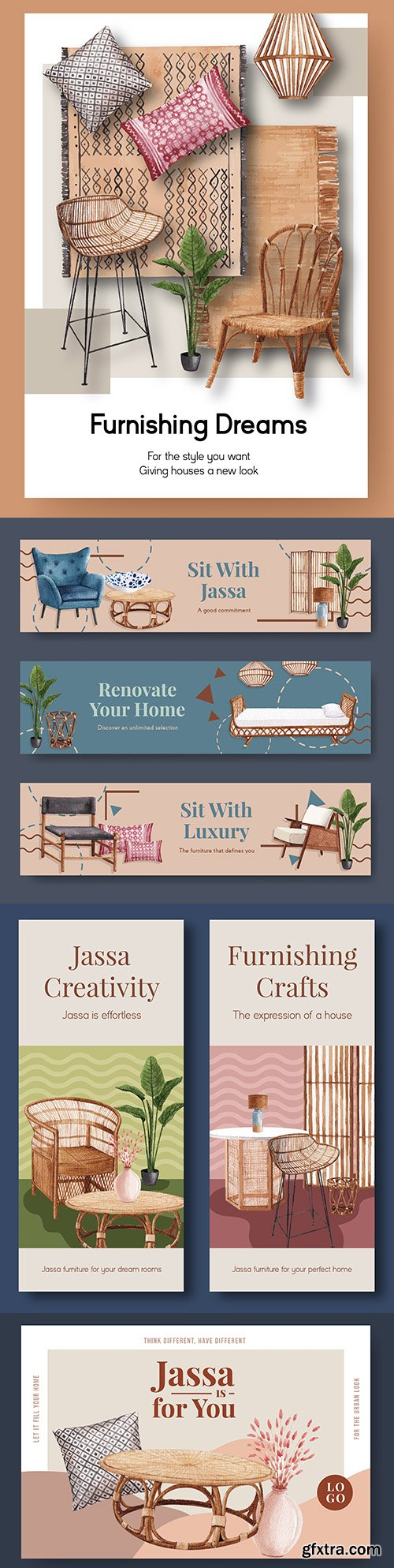 Furniture jassa for brochure and advertising watercolor illustrations