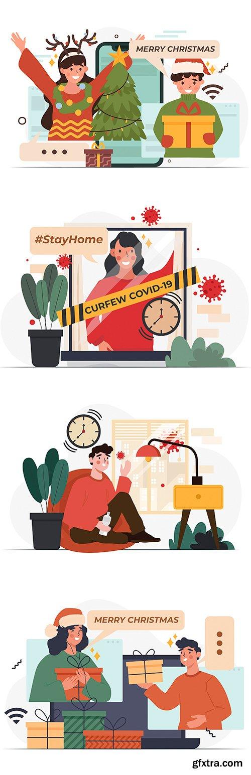 Celebrating Christmas online and concept of curfew coronavirus