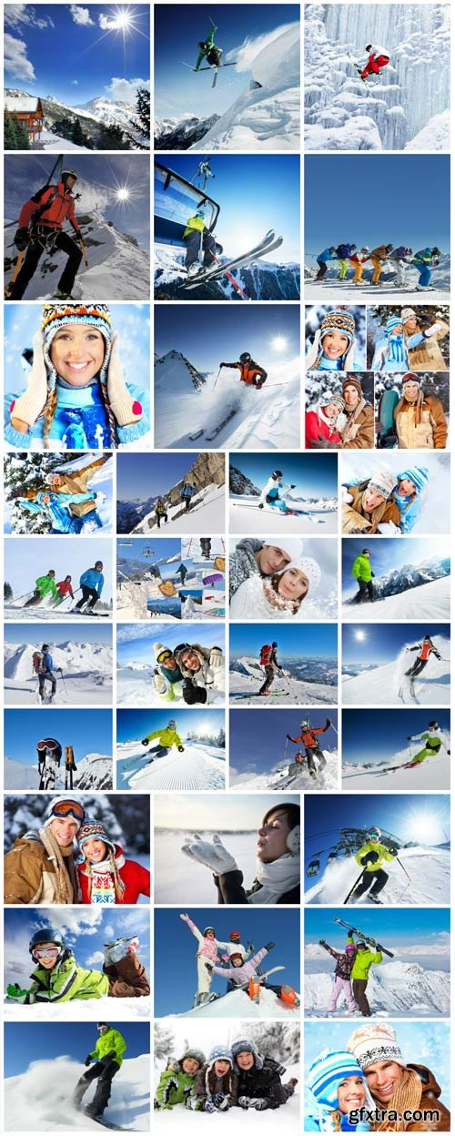 Winter vacation in the mountains stock photo