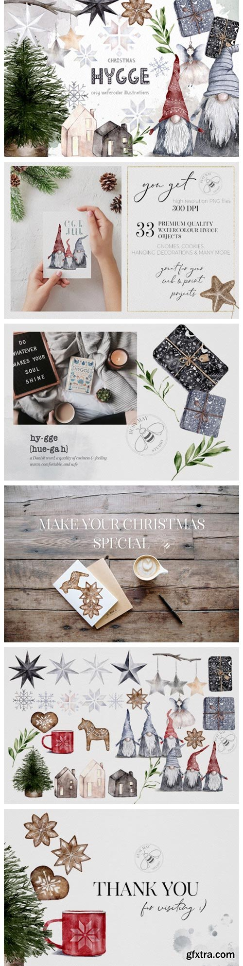 Hygge Christmas Watercolor Illustrations 6946028