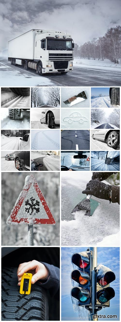 Winter roads, transport stock photo