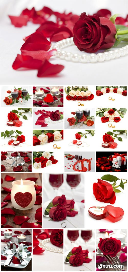Romantic stock photos with roses and rings