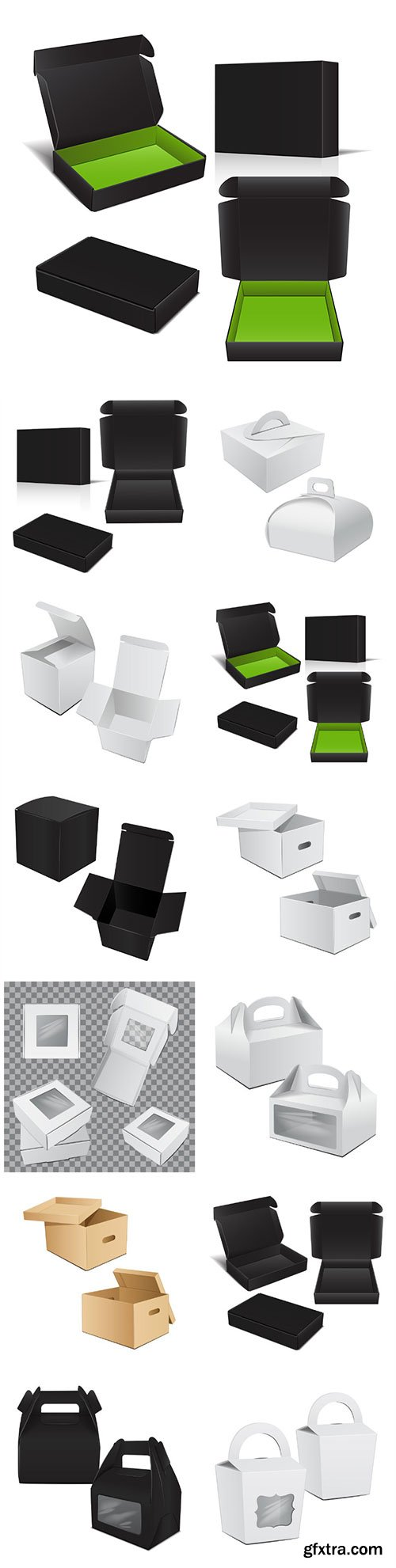 Set of vector packaging box
