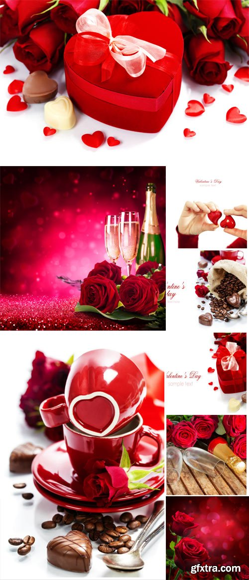 Romantic stock photo with champagne, roses and sweets