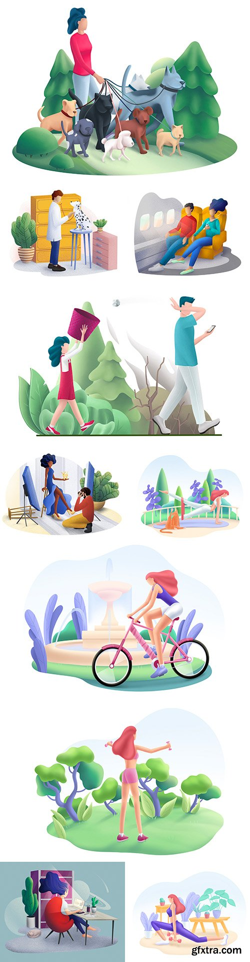 People and nature engaging in outdoor sports illustrations