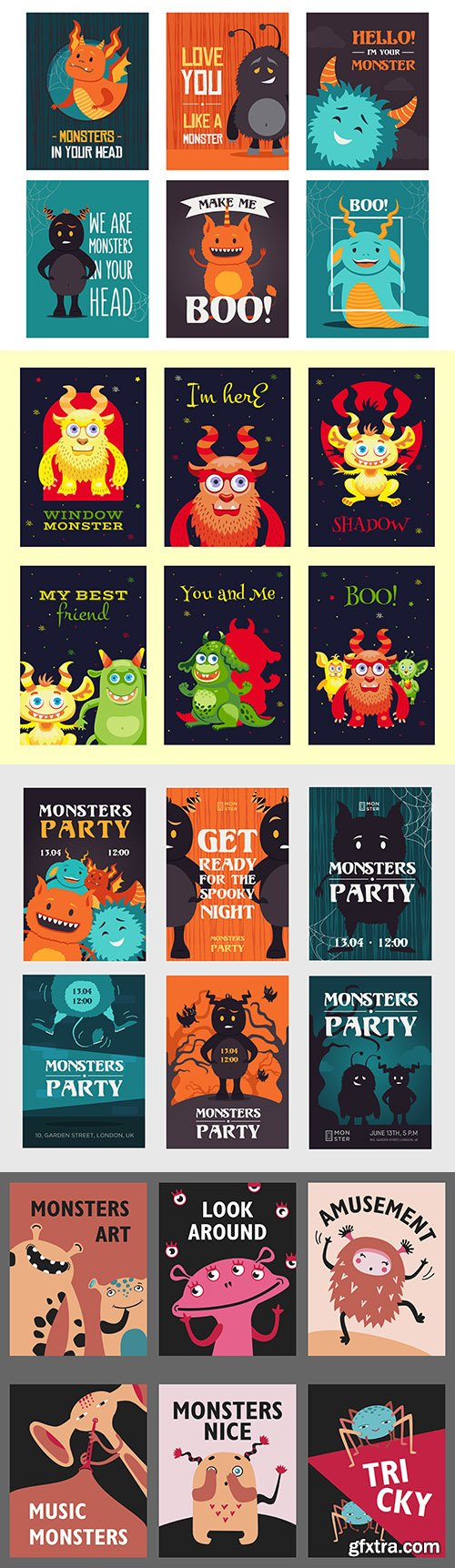 Funny invitation to party with monsters template poster