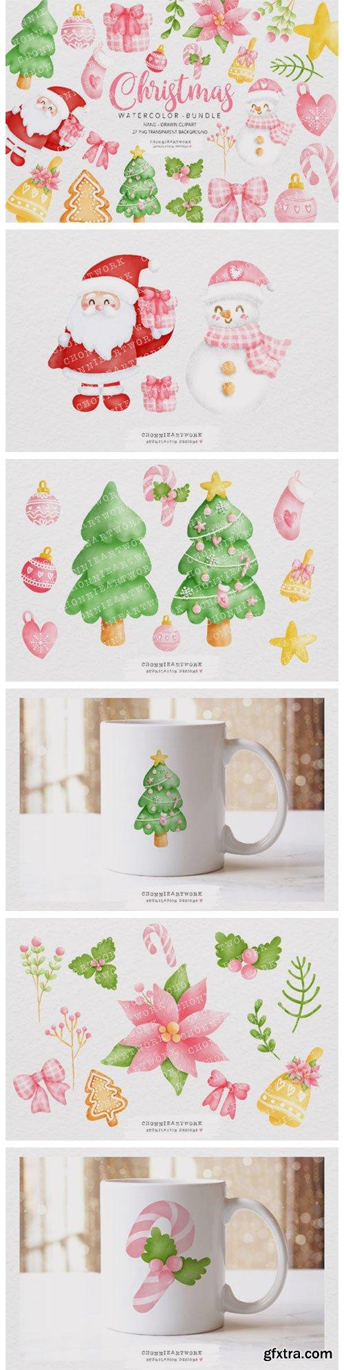 Watercolor Christmas Clipart Bundle 7151795
