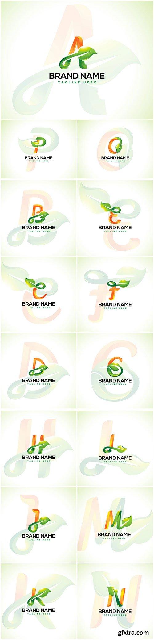 Leaf logo and initial letter logo concept