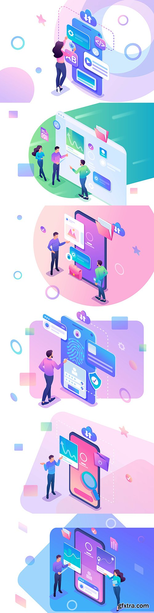 Internet technology and business people isometric design