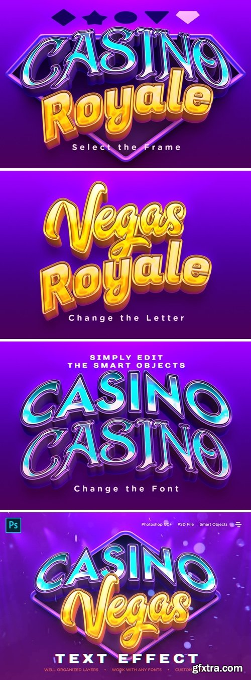 Realistic Casino Logo Style 3D Text Effects