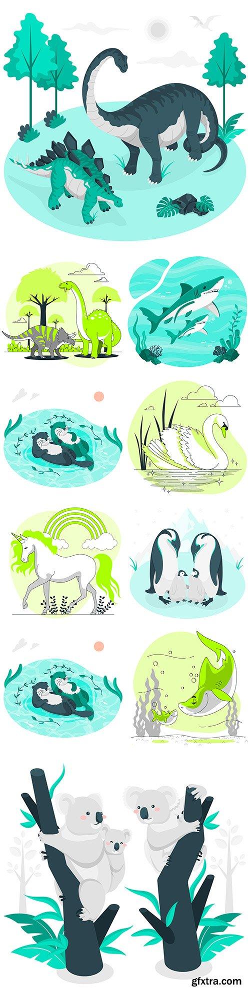 Animal and marine dwellers hand-drawn illustrations