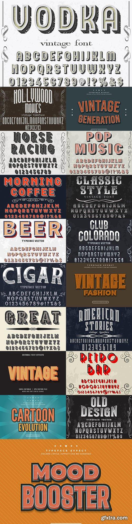 Vintage editable font and alphabet collection illustration design 5