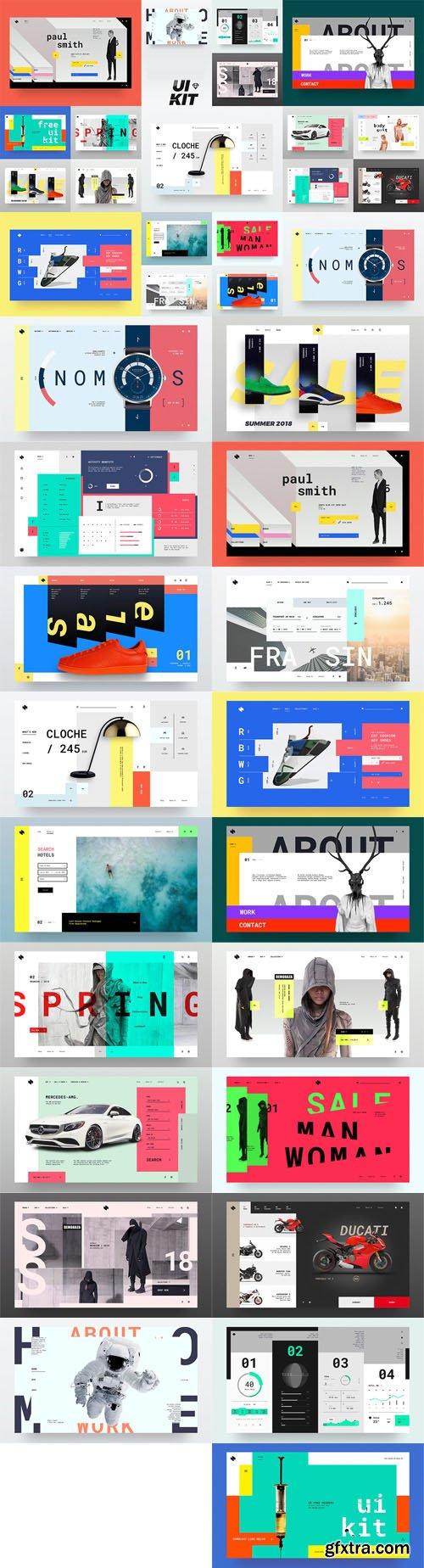 HeaderZ UI Kit Design SKETCH Templates