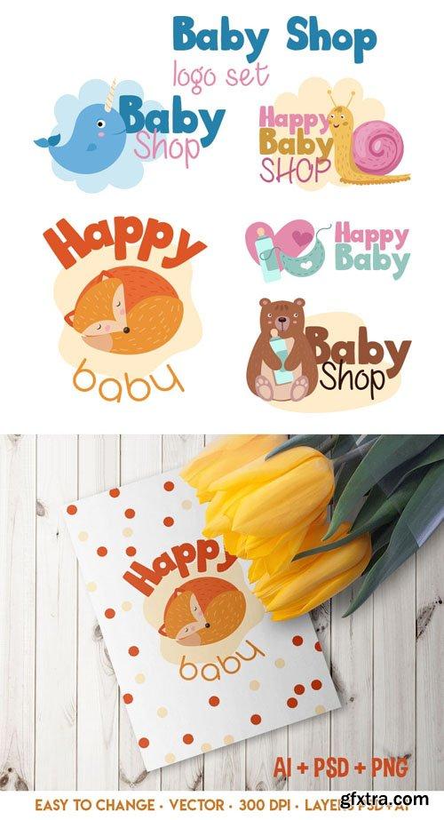 5 Baby Shop Vector Logos + PSD