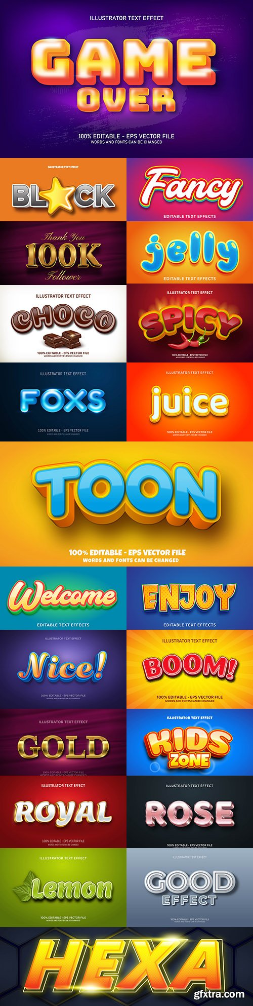Editable font effect text collection illustration design 237