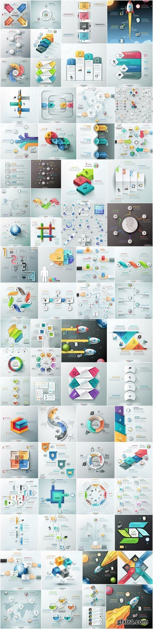 Templates of Infographics and Elements of design - 71xEPS Professional Vector Stock