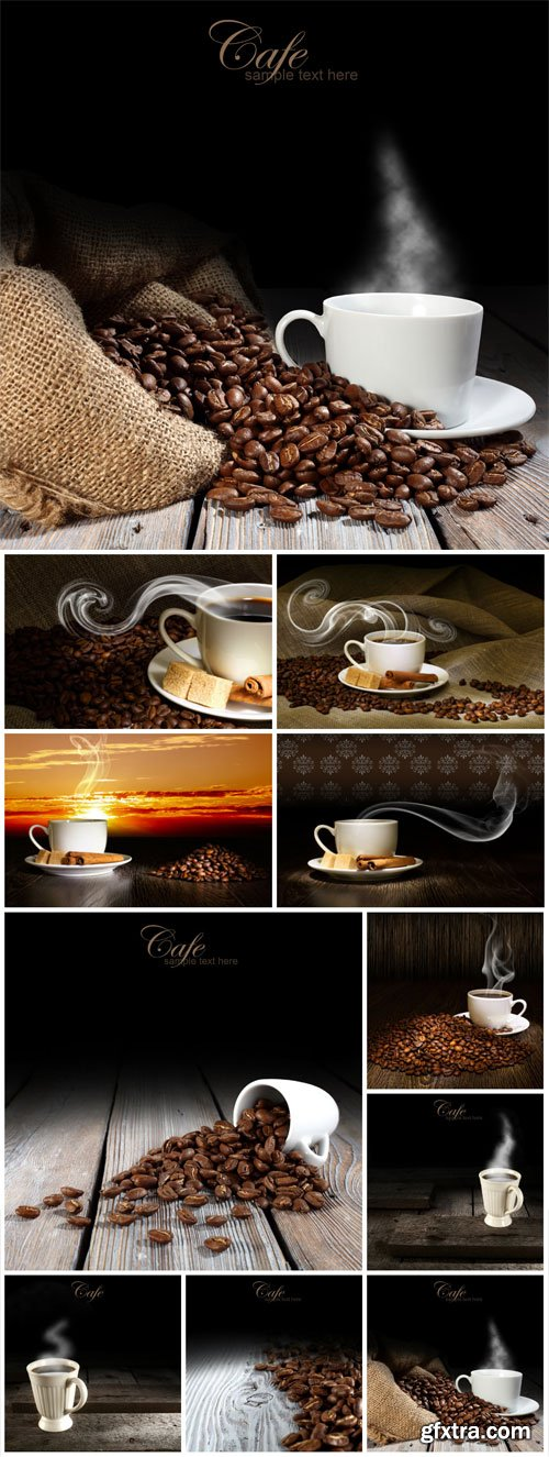 Coffee on wood background stock photo