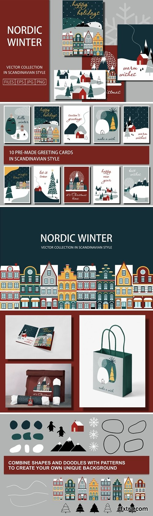 CreativeMarket - Nordic Winter Greeting Cards 5601863