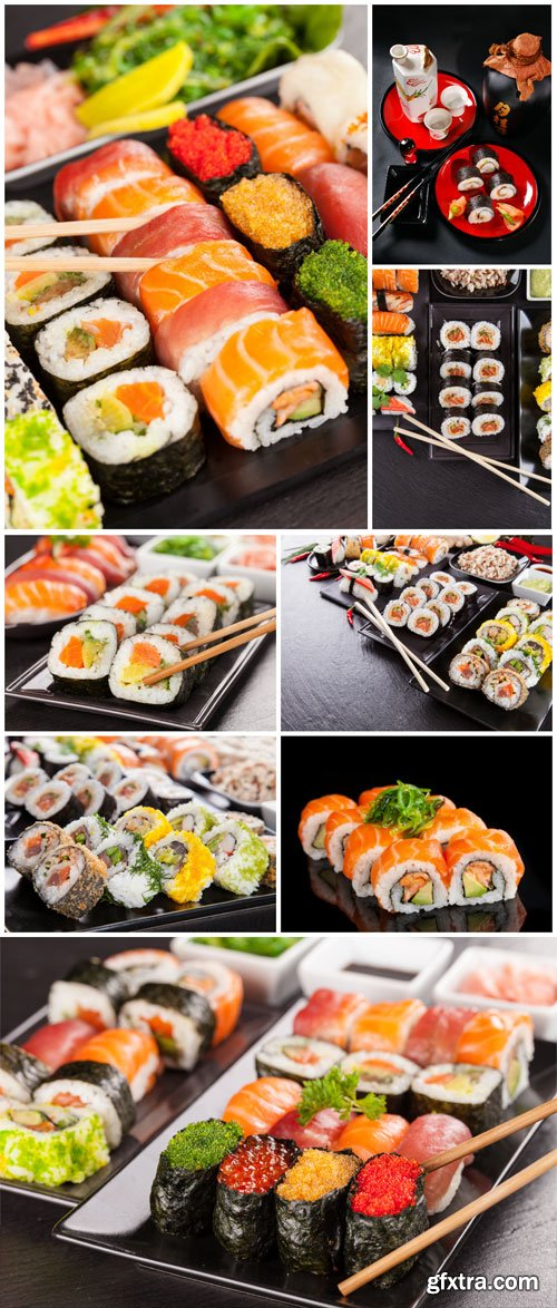 Sushi sets on black table stock photo