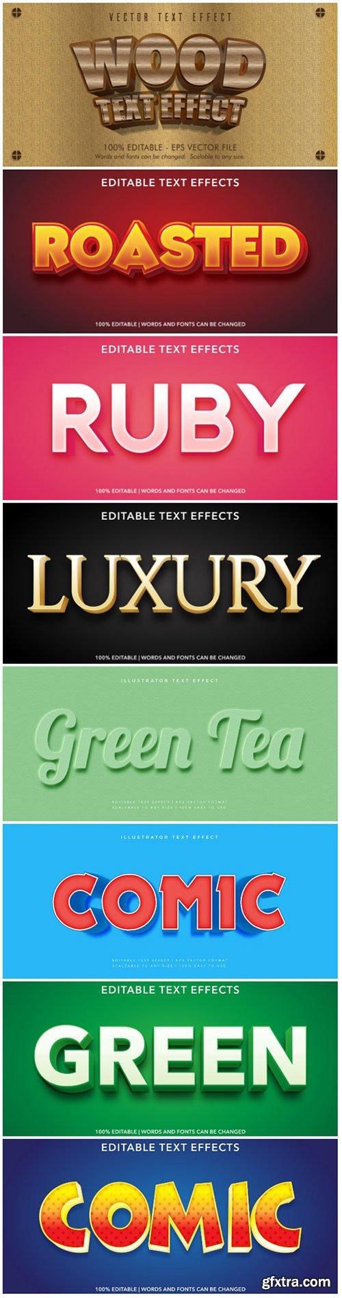 3d editable text style effect vector vol 170