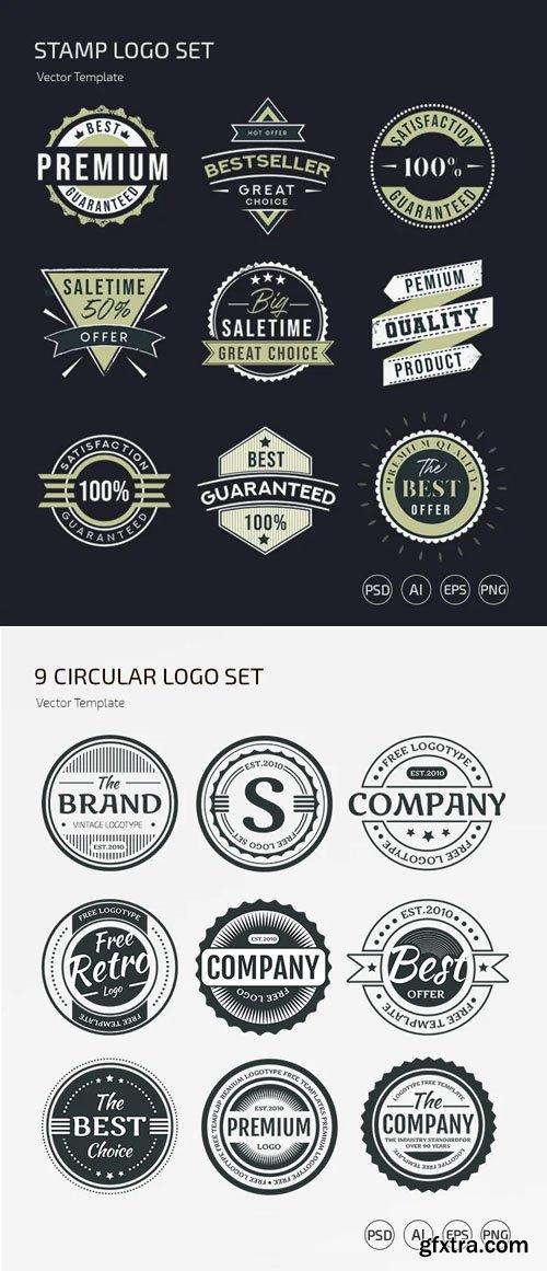 18 Stamp Logos Vector Templates + PSD