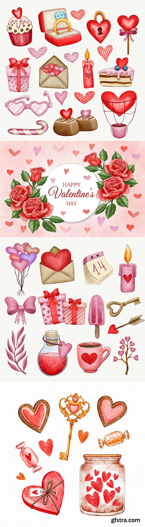 Watercolor Valentine's Day background and decorative elements