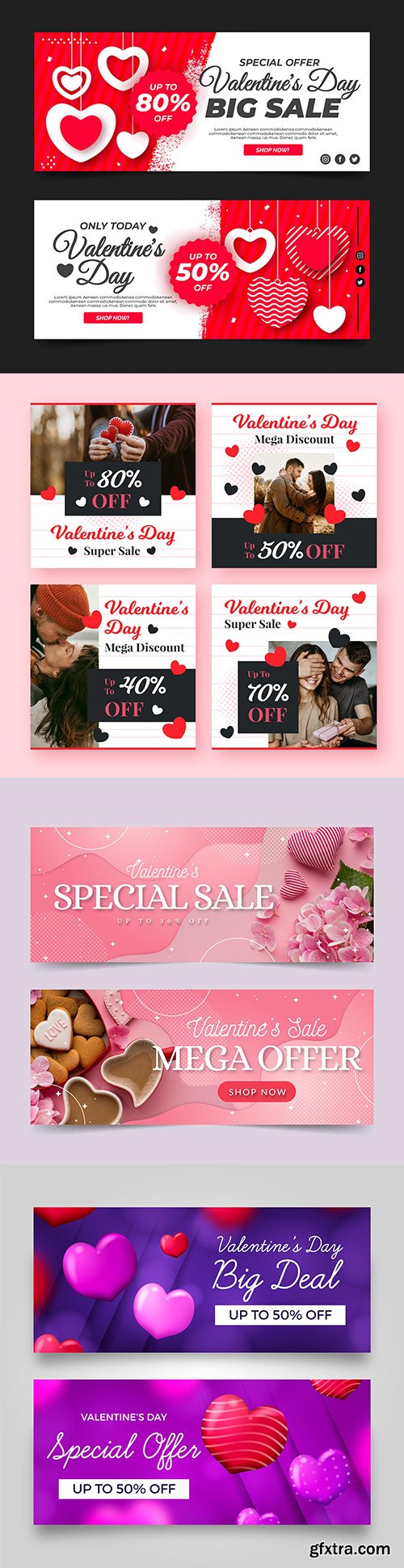 Valentine's Day holiday sales design template banners