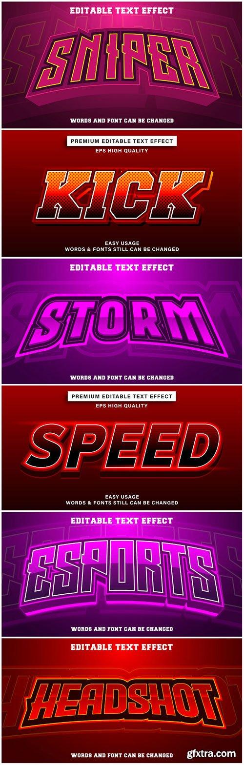 3d editable text style effect vector vol 193