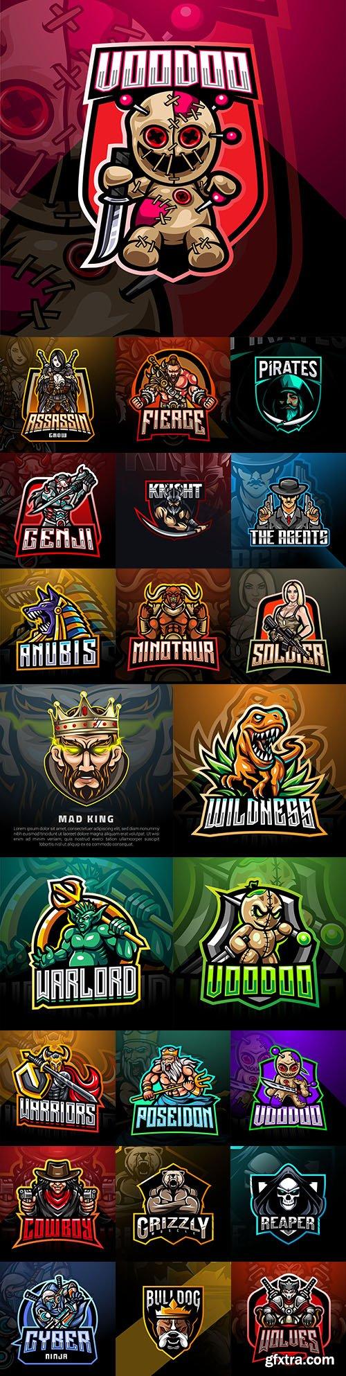 Emblem gaming mascot design cybersport illustration 30