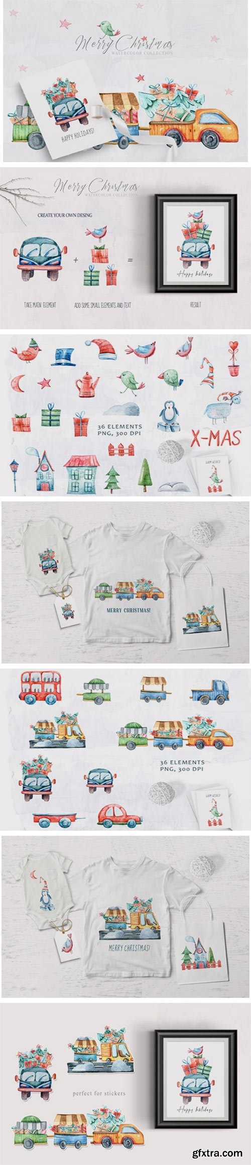 Watercolor Christmas Clipart. Truck Set 6942463