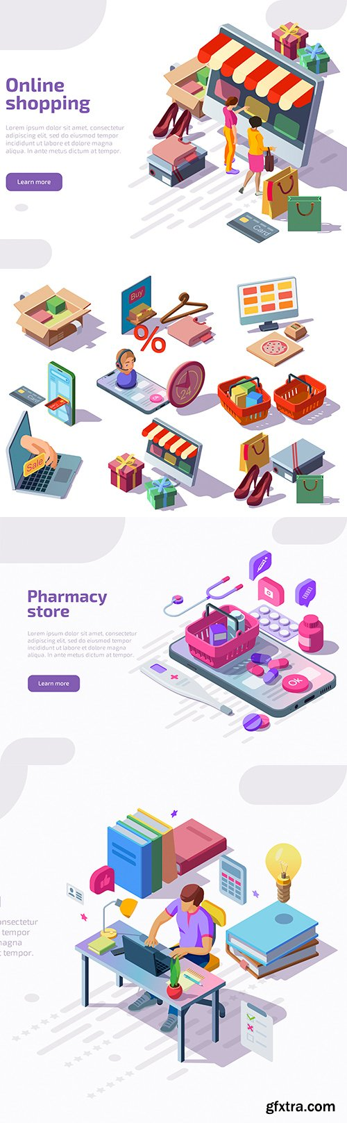 Online store and education design isometric landing page