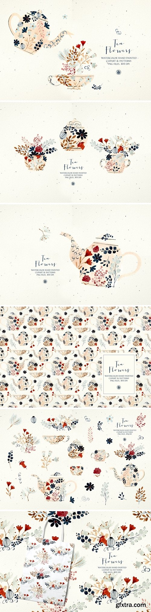 Tea Flowers - watercolor set and patterns
