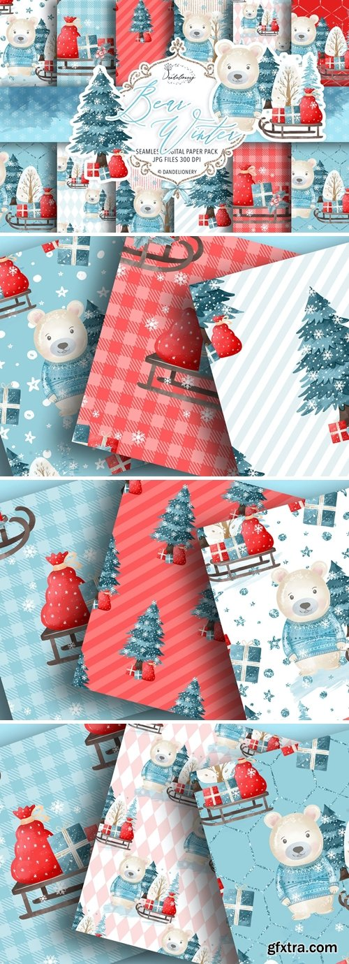 Bear Winter digital paper pack