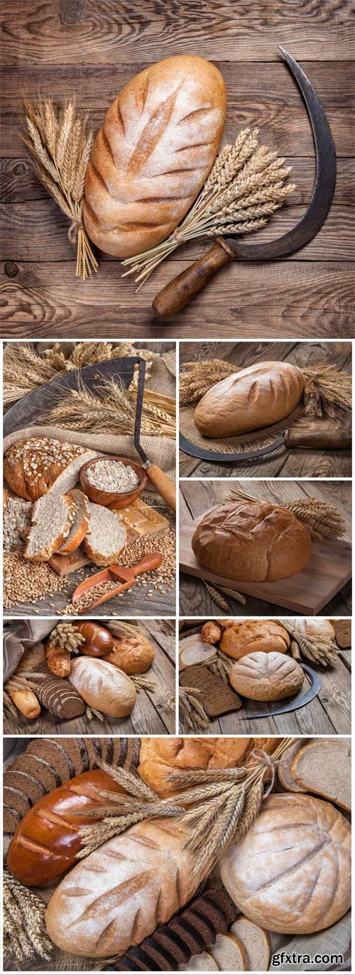 Bread and wheat on wood background stock photo