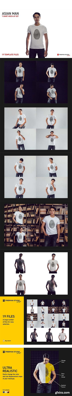 CreativeMarket - Asian Man T-Shirt Mock-Up Set 5728693