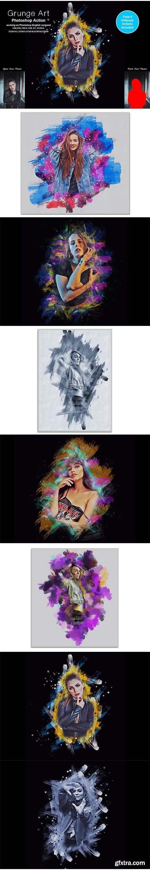 CreativeMarket - Grunge Art Photoshop Action 5442223