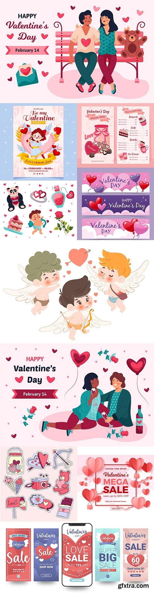 Valentine's Day sale and collection element design
