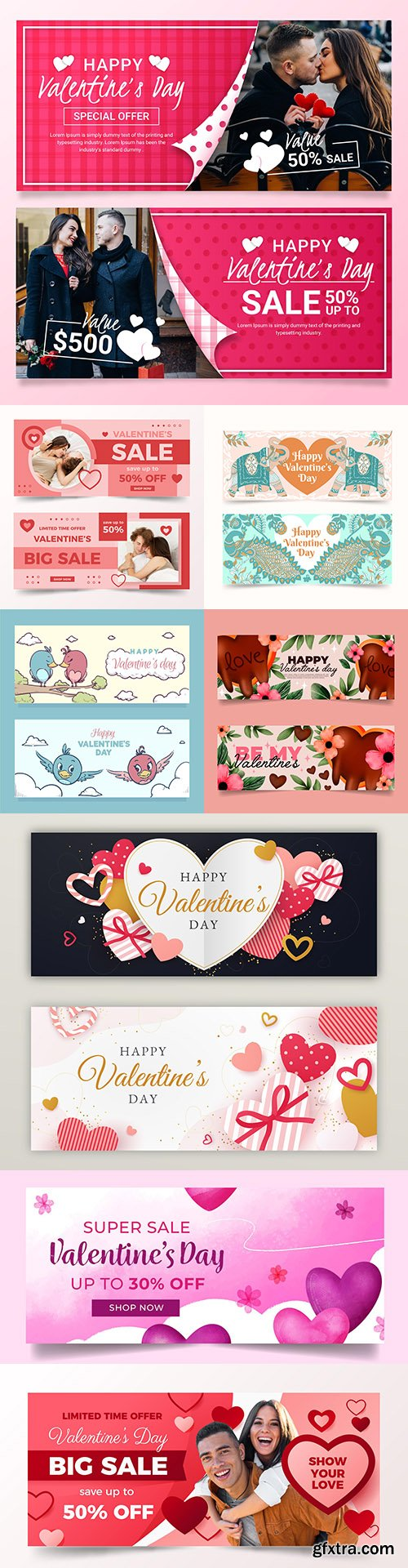 Valentine's Day banner and menu design template 2