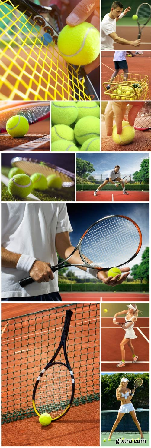 Tennis balls and tennis racket stock photo