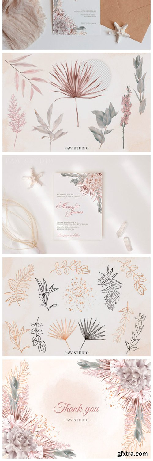 Wedding Flowers Leaves Rose Palm Clipart 6970515