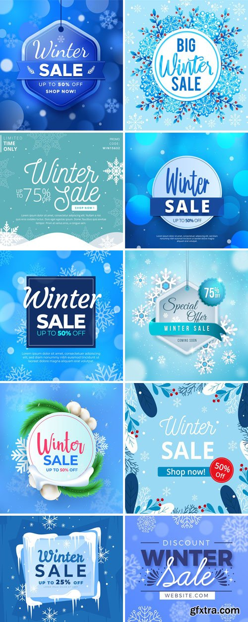 14 Winter Sales Backgrounds With Special Offers Vector Collection